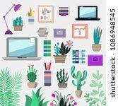 big set elements. work table ... | Shutterstock .eps vector #1086948545