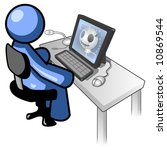 a blue man sitting at a... | Shutterstock .eps vector #10869544