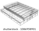 warehouse sketch. vector...   Shutterstock .eps vector #1086958901