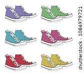 set of hipster sneakers with... | Shutterstock .eps vector #1086979721