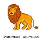 yellow lion  cartoon pixel art... | Shutterstock .eps vector #1086980321