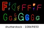 neon letters f and g collected... | Shutterstock . vector #10869850