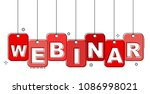 red flat line tag webinar | Shutterstock .eps vector #1086998021