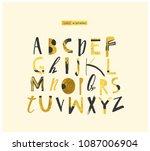 modern elegant gold abc.   Shutterstock .eps vector #1087006904