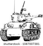 powerful tank with a gun drawn... | Shutterstock .eps vector #1087007381
