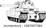 powerful tank with a gun drawn... | Shutterstock .eps vector #1087007384