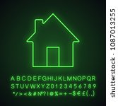 homepage neon light icon. house ... | Shutterstock .eps vector #1087013255