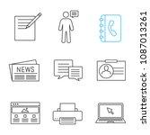 information center linear icons ... | Shutterstock .eps vector #1087013261
