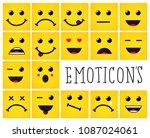set of square emoticons  emoji... | Shutterstock .eps vector #1087024061