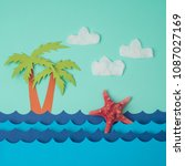 creative summer background with ... | Shutterstock . vector #1087027169