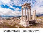 the temple of trajan  bergama | Shutterstock . vector #1087027994