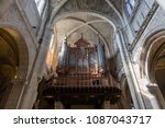 organ of the cathedral st.... | Shutterstock . vector #1087043717