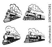set of retro locomotives on... | Shutterstock .eps vector #1087044281
