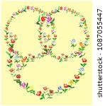 hand drawn floral doodle vector ...   Shutterstock .eps vector #1087055447