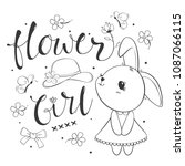 Stock vector coloring page outline cute rabbit girl with flower on white background illustration vector 1087066115