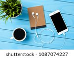 white smart phone and... | Shutterstock . vector #1087074227