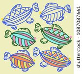 fishes pattern   stylized ... | Shutterstock . vector #1087087661