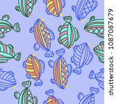 fishes seamless  pattern  ... | Shutterstock . vector #1087087679