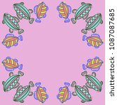 fishes pattern   stylized ... | Shutterstock . vector #1087087685