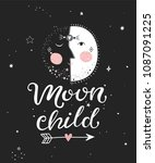 moon child     poster with hand ... | Shutterstock .eps vector #1087091225