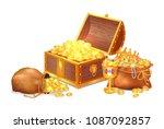 old shiny treasures in wooden... | Shutterstock .eps vector #1087092857