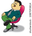 A chubby man sitting happy on a ...