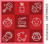 baby related set of 9 icons... | Shutterstock .eps vector #1087098425