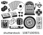 casino and poker set of vector... | Shutterstock .eps vector #1087100501
