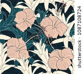 seamless pattern tropical with... | Shutterstock .eps vector #1087108724
