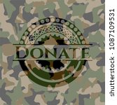 donate written on a camouflage ...   Shutterstock .eps vector #1087109531