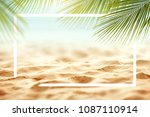 sand with palm and tropical... | Shutterstock . vector #1087110914