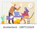 two experienced business... | Shutterstock .eps vector #1087112624