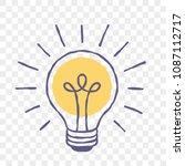 lamp idea or light bulb doodle...   Shutterstock .eps vector #1087112717
