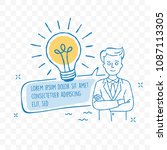 idea light bulb and businessman ... | Shutterstock .eps vector #1087113305