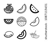 outline melon icon set such as... | Shutterstock .eps vector #1087115651