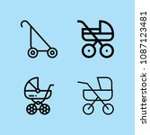 outline carriage icon set such...   Shutterstock .eps vector #1087123481