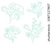 bouquet set made of continuous... | Shutterstock . vector #1087127807