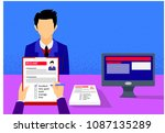 employer interviewing  check... | Shutterstock .eps vector #1087135289