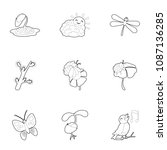 summer fauna icons set. outline ...   Shutterstock . vector #1087136285