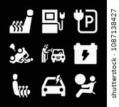 car related set of 9 icons such ... | Shutterstock .eps vector #1087138427