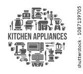 kitchen small appliances...   Shutterstock .eps vector #1087139705