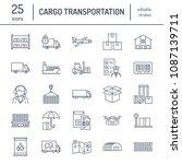 cargo transportation flat line...   Shutterstock .eps vector #1087139711