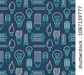 light bulbs seamless pattern... | Shutterstock .eps vector #1087139777