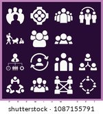 set of 16 group filled icons... | Shutterstock .eps vector #1087155791