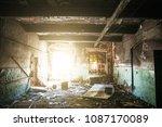 inside ruined abandoned house... | Shutterstock . vector #1087170089