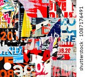 old collage ripped torn posters ... | Shutterstock . vector #1087176491