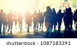 marathon runners in the city  | Shutterstock . vector #1087183391
