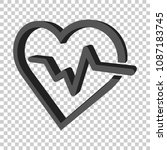 heartbeat line with heart icon...   Shutterstock .eps vector #1087183745