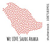 saudi arabia map with red... | Shutterstock . vector #1087183901