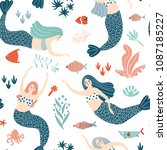 seamless pattern with beautiful ... | Shutterstock .eps vector #1087185227